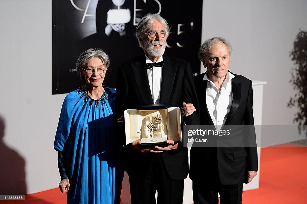 Winners of the Palme D'Or for 'Amour', actress Emmanuelle Riva, director Michael Haneke and actor Jean-Louis Trintignant pose at the Winners Photocall during the 65th Annual Cannes Film Festival on May 27, 2012 in Cannes, France.