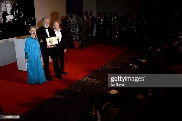 Winners of the Palme D'Or for 'Amour' actress Emmanuelle Riva director Michael Haneke and actor JeanLouis Trintignant pose at the Winners Photocall...