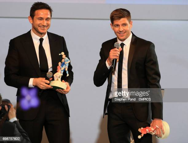 Winners of the PFA's Merit award Steven Gerrard and Frank Lampard during the PFA Awards at the Grosvenor House Hotel London
