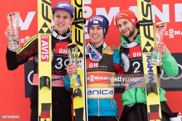 PLANICA SLOVENIA PLANICA SLOVENIA Winners of the Planica FIS Ski Jumping World Cup finals on podium in Planica Slovenia From left Andreas Wellinger...