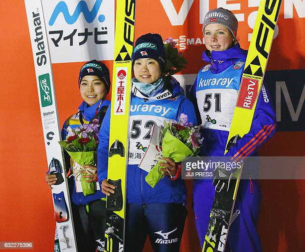 Winners of the women's ski jumping World Cup competition firstplaced Yuki Ito of Japan secondplaced Sara Takanashi of Japan and thirdplaced Maren...