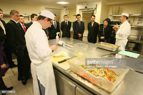 Winners of The Young Chefs Contest 2007 hailing from the Shropshire area are given a tour of the kitchens inside Buckingham Palace in central London...