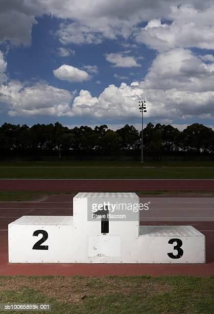Winners podium on track