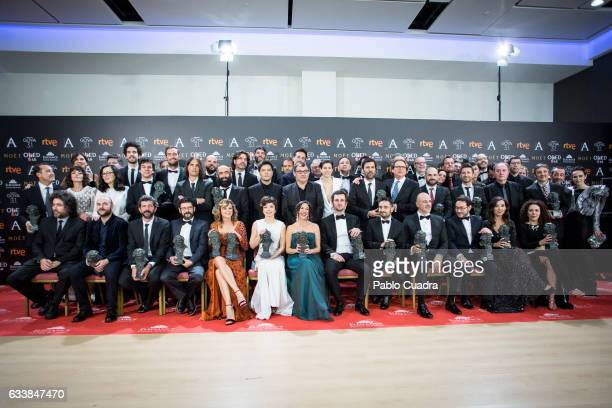 Winners pose during the 31st edition of the Goya Cinema Awards at Madrid Marriott Auditorium on February 4 2017 in Madrid Spain