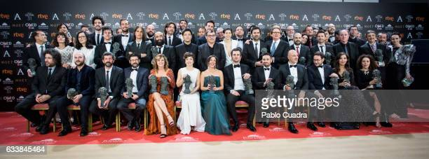 Winners pose for picture family during the 31st edition of the Goya Cinema Awards at Madrid Marriott Auditorium on February 4 2017 in Madrid Spain