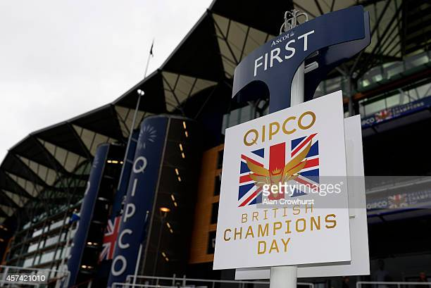 Winners position on Champions Day at Ascot racecourse on October 18 2014 in Ascot England