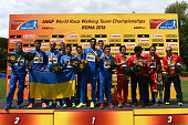 Winners teams pose during award ceremony of the 50KM Race Walk at IAAF Race Walking Team Campionship Rome 2016 on May 7 2016 in Rome Italy