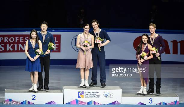 Winners Tessa Virtue and Scott Moir of Canada secondplaced Maia Shibutani and Alex Shibutani of the US and thirdplaced Madison Chock and Evan Bates...