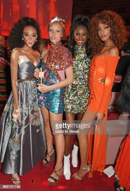 Winnie Harlow Adwoa Aboah Leomie Anderson and Jourdan Dunn attend The Fashion Awards 2017 in partnership with Swarovski after party at Royal Albert...