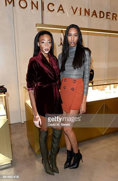 Winnie Harlow and Jeri Ali attend the Monica Vinader and Brita Fernandez Schmidt launch of the #SheInspiresMe friendship bracelet on October 8 2015...