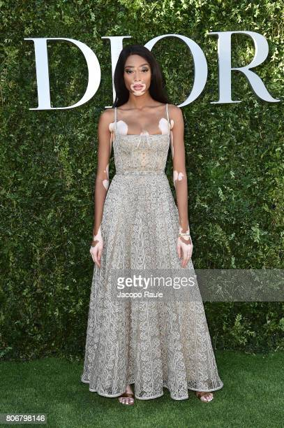 Winnie Harlow attends 'Christian Dior couturier du reve' Exhibition Launch celebrating 70 years of creation at Musee Des Arts Decoratifs on July 3...