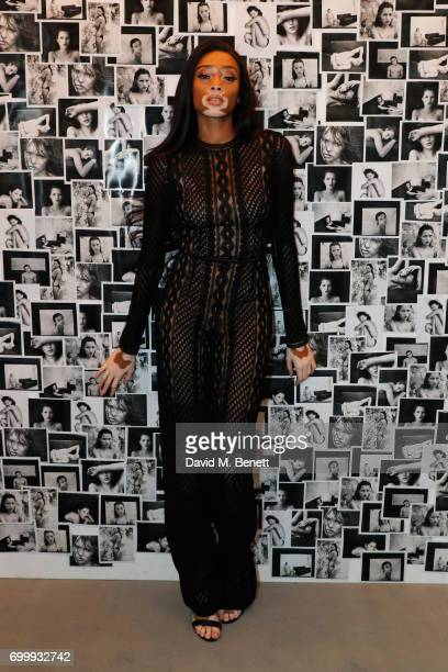 Winnie Harlow attends Kate Moss Mario Sorrenti launch of the OBSESSED Calvin Klein fragrance launch at Spencer House on June 22 2017 in London England