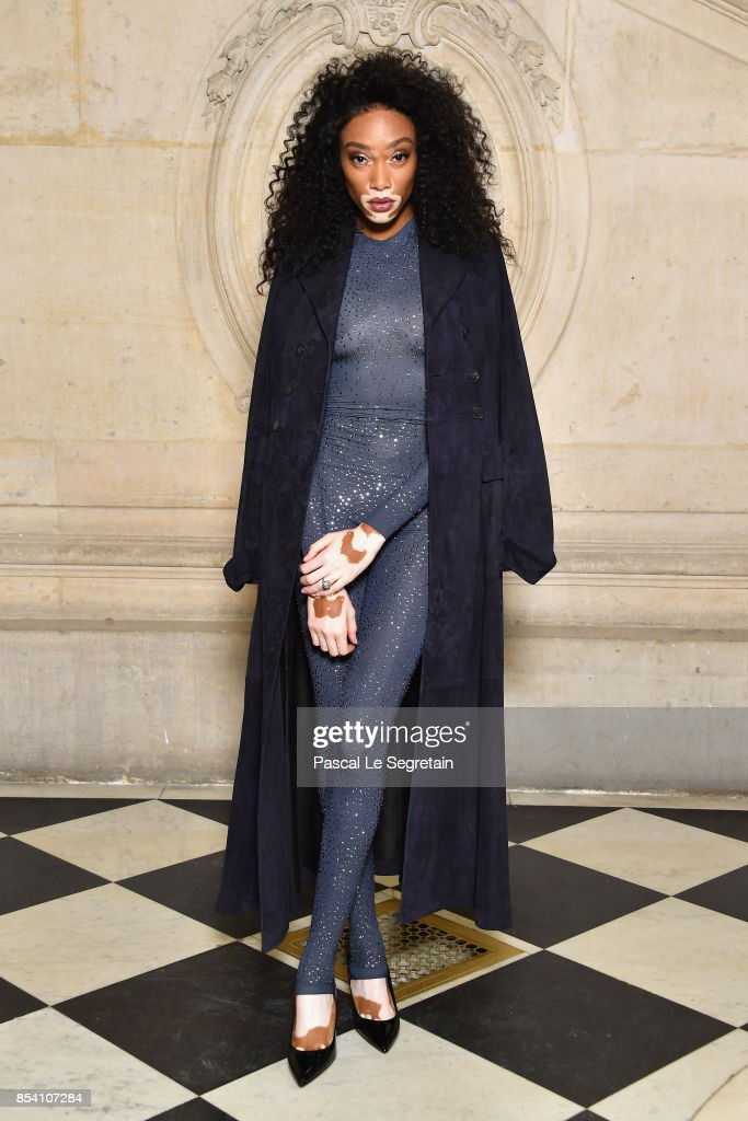 Winnie Harlow attends the Christian Dior show as part of the Paris Fashion Week Womenswear Spring/Summer 2018 on September 26, 2017 in Paris, France.