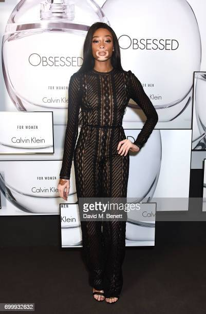Winnie Harlow attends the Kate Moss Mario Sorrenti launch of the OBSESSED Calvin Klein fragrance launch at Spencer House on June 22 2017 in London...