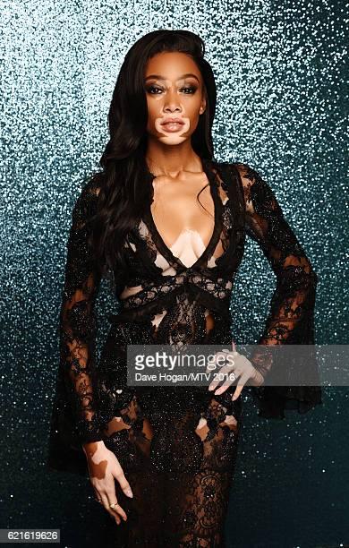 Winnie Harlow attends the MTV Europe Music Awards 2016 on November 6 2016 in Rotterdam Netherlands