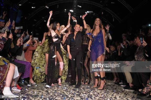 Winnie Harlow Designer Julien MacDonald and Alessandra Ambrosio walk the runway during the finale of the Julien Macdonald Spring Summer 2018 Show...