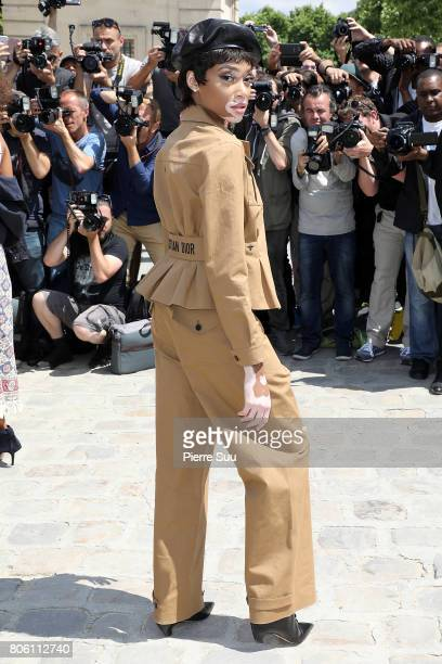 Winnie Harlow is seen arriving at the 'Christian Dior' show during Paris Fashion Week Haute Couture Fall/Winter 20172018 on July 3 2017 in Paris...