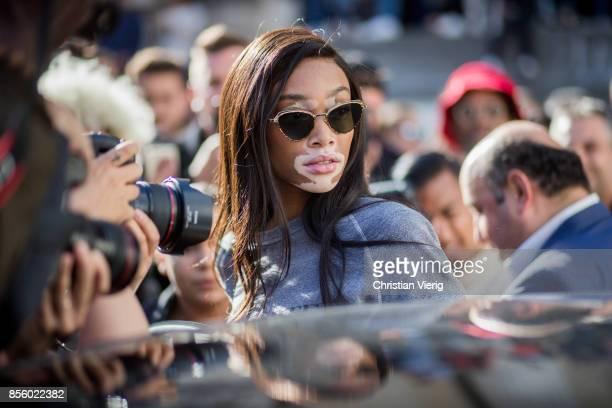 Winnie Harlow is seen outside Elie Saab during Paris Fashion Week Spring/Summer 2018 on September 30 2017 in Paris France