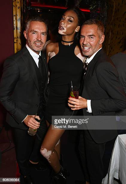 Winnie Harlow poses with Dean Caten and Dan Caten at LOVE Magazine and Marc Jacobs LFW Party to celebrate LOVE 165 collector's issue of LOVE and...