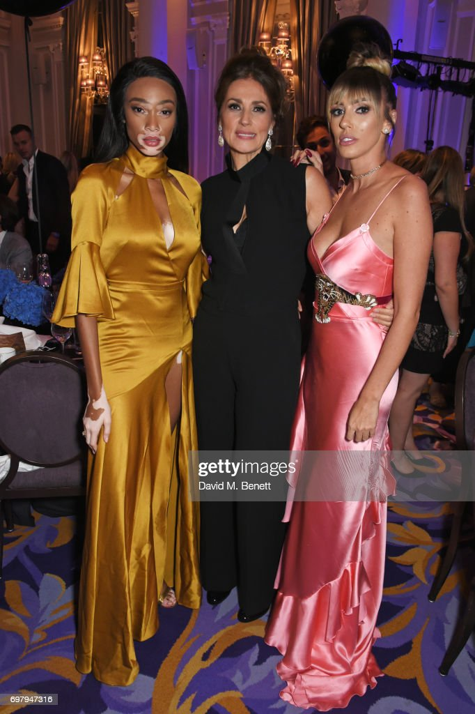 Winnie Harlow, Slavica Ecclestone and Petra Stunt attend the inaugural fundraising dinner for The Petra Stunt Foundation in aid of PS Place at the Corinthia Hotel London on June 19, 2017 in London, England.
