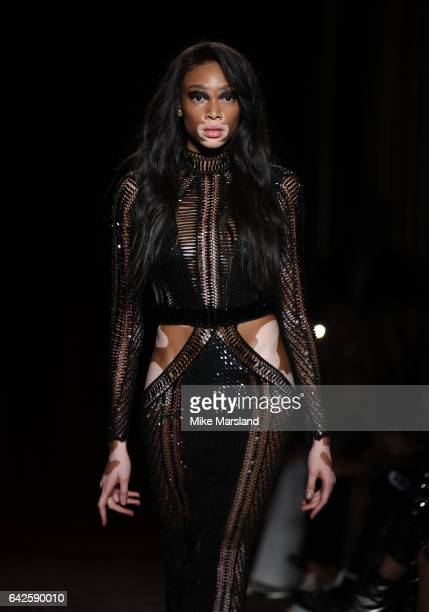 Winnie Harlow walks the Julien Macdonald runway during the London Fashion Week February 2017 collections on February 18 2017 in London England
