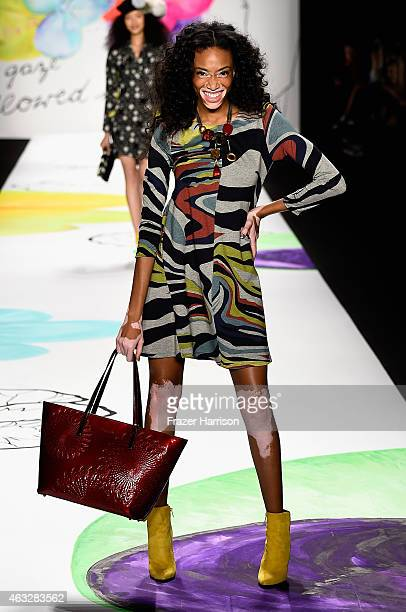 Winnie Harlow walks the runway at the Desigual fashion show during MercedesBenz Fashion Week Fall 2015 at The Theatre at Lincoln Center on February...