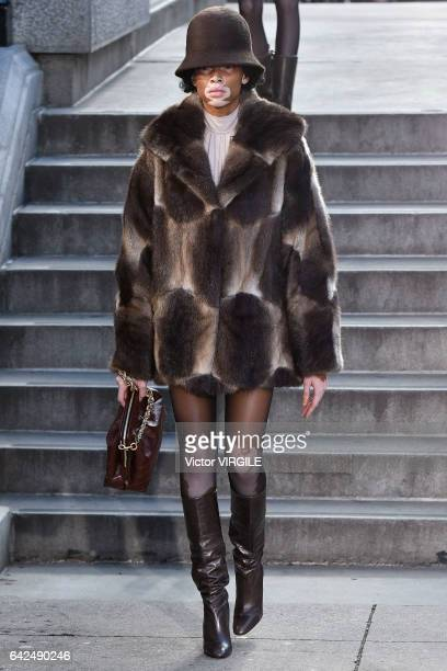 Winnie Harlow walks the runway at the Marc Jacobs Ready to Wear Fall Winter 20172018 fashion show on February 16 2017 in New York City