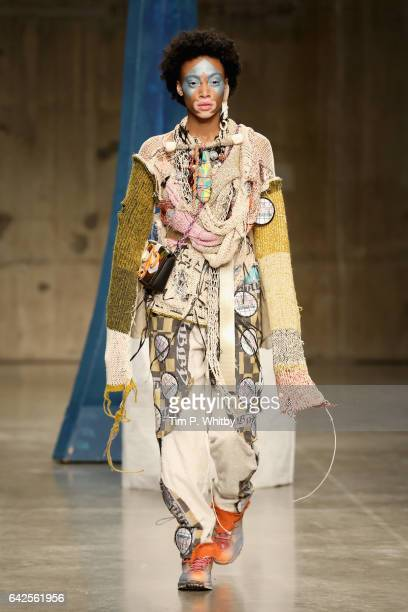 Winnie Harlow walks the runway at the Matty Bovan show during the London Fashion Week February 2017 collections on February 18 2017 in London England