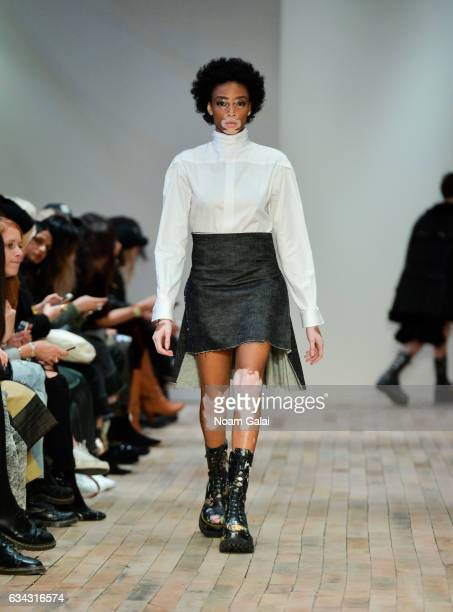 Winnie Harlow walks the runway at the R13 fashion show during New York Fashion Week on February 8 2017 in New York City