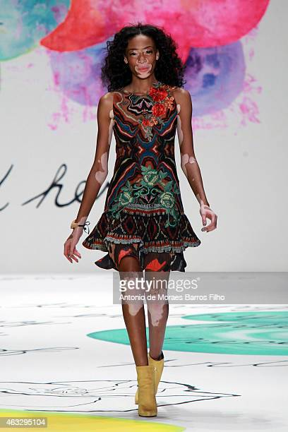 Winnie Harlow walks the runway during the Desigual fall 2015 fashion show on February 12 2015 in New York City