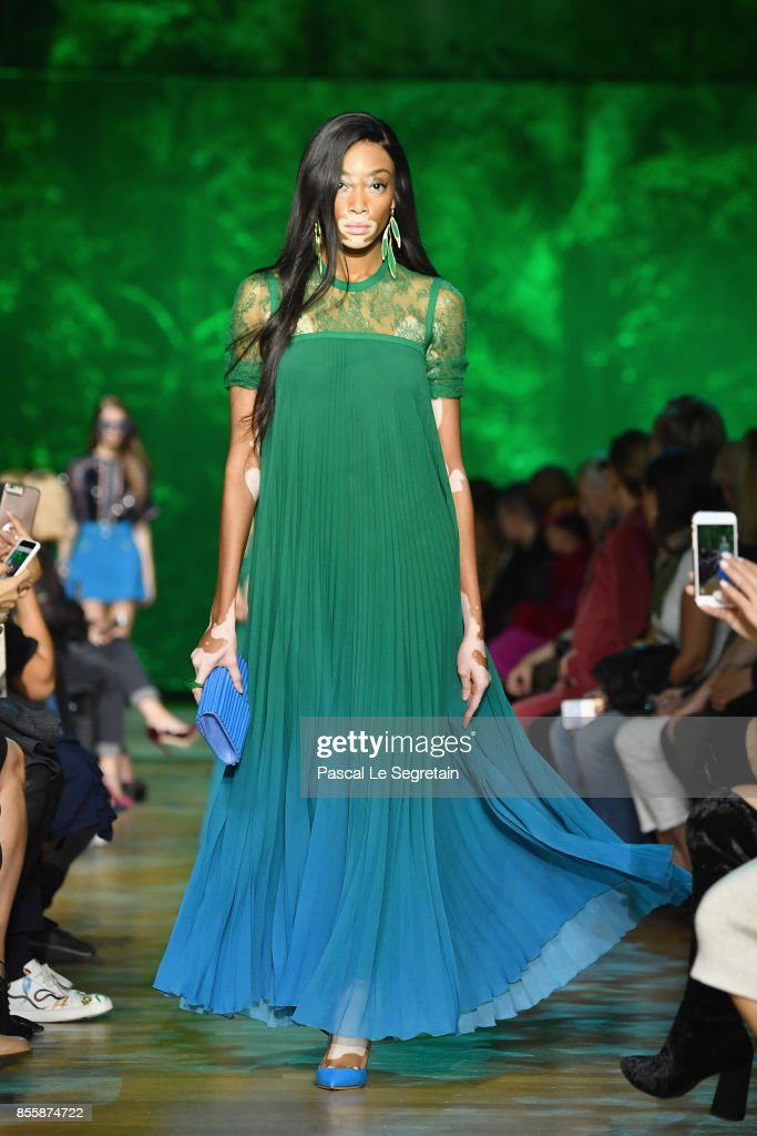 Winnie Harlow walks the runway during the Elie Saab show as part of the Paris Fashion Week Womenswear Spring/Summer 2018 on September 30, 2017 in Paris, France.