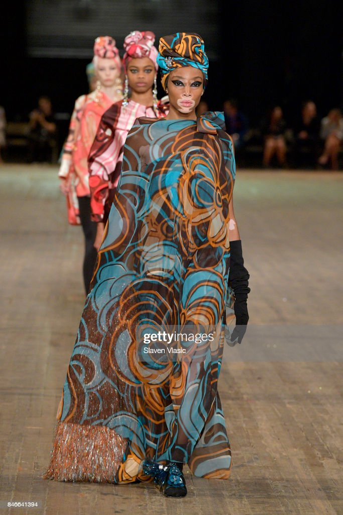 Winnie Harlow walks the runway for Marc Jacobs SS18 fashion show during New York Fashion Week at Park Avenue Armory on September 13, 2017 in New York City.