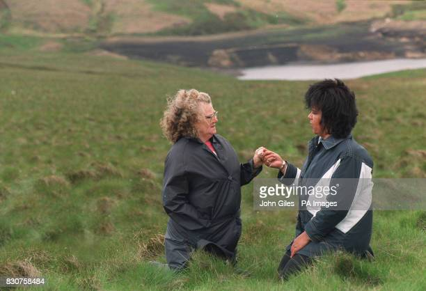 Winnie Johnson the mother of Keith Bennett who's body is still missing with Psychic Teresa Walsh on the Yorkshire Moors * A BBC documentary Body Hunt...