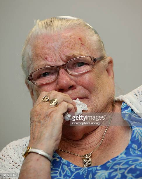 Winnie Johnson the mother of Saddleworth Moor murder victim Twelveyearold Keith Bennett weeps as she watches TV coverage of Greater Manchester Police...