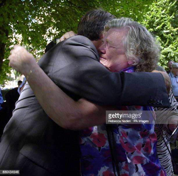 Winnie Johnson whose son Keith Bennett was killed by the 'Moors Murderers' is hugged by American Marc Klaas daughter Polly was also murdered The two...
