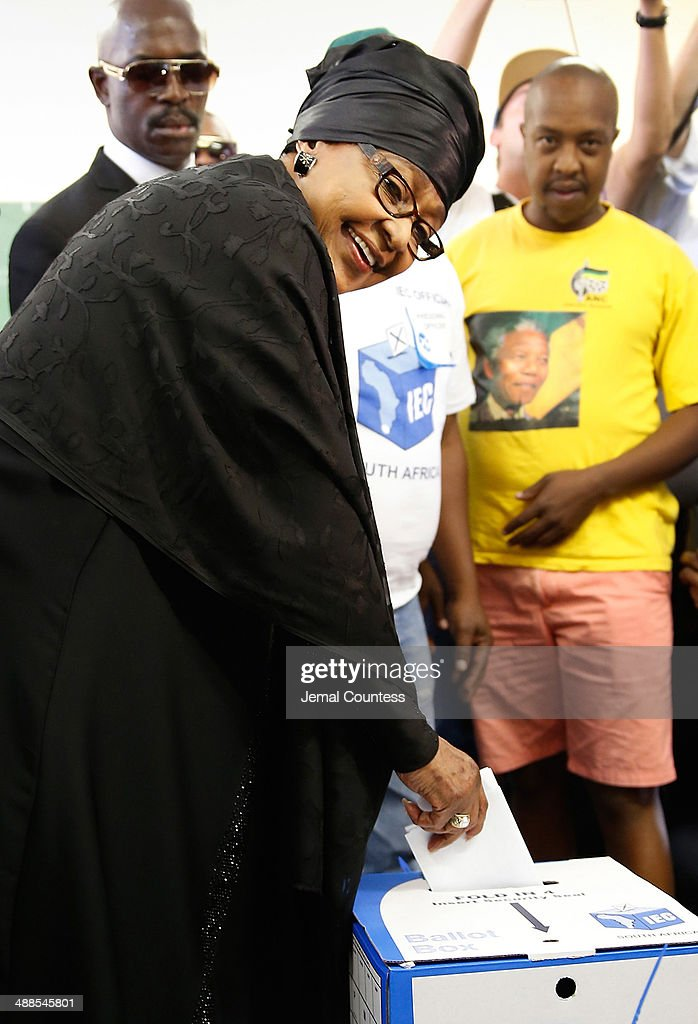 Winnie Madikizela-Mandela casts her ballot at the Orlando West Voting Station at the Orlando West Secondary School during the 2014 South African General Election on May 7, 2014 in the Soweto Township in Johannesburg, South Africa. Polls have opened in South Africa's fifth general election since the end of apartheid over 20 years ago. President Jacob Zuma is expected to return to power with the ANC party however his election campaign has been marred by allegations of corruption and he is expected to lose some ground to other parties.