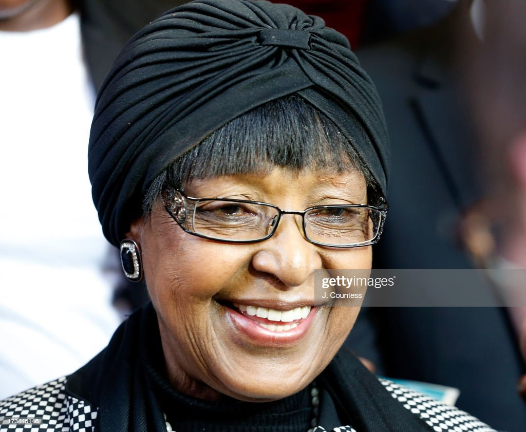 Winnie Madikizela-Mandela the second wife of former South African president Nelson Mandela speaks to the media following an interfaith prayer service for Former South African President Nelson Mandela at the Johannesburg City Hall on July 14, 2013 in Johannesburg, South Africa. Former President Nelson Mandela has been hospitalized at the Medi-Clinic Hospital in Pretoria since June 8 for treatment for a recurring lung infection.