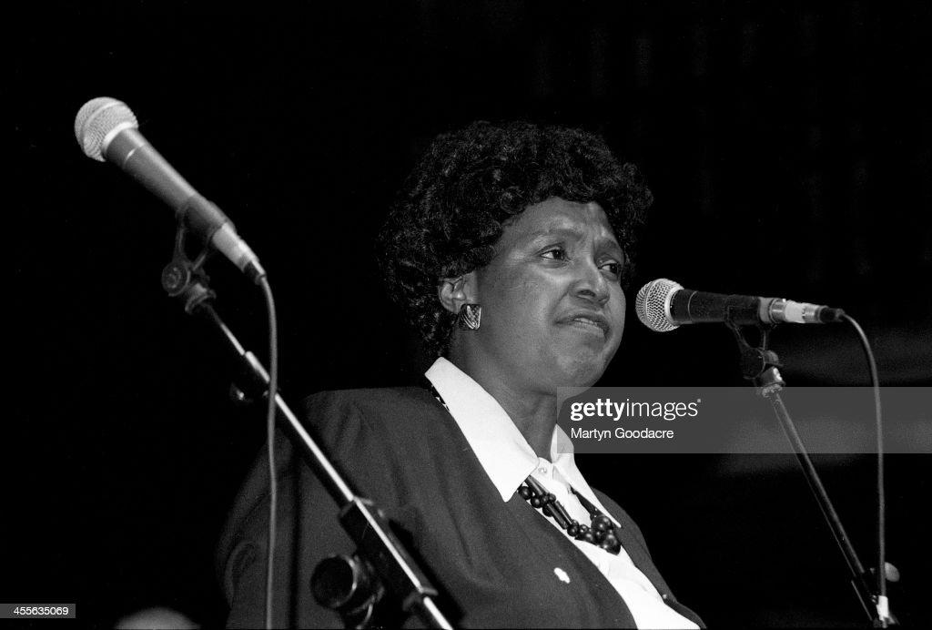Winnie Mandela appears on stage at the Dance Mandela Concert Brixton Academy London United Kingdom 1990