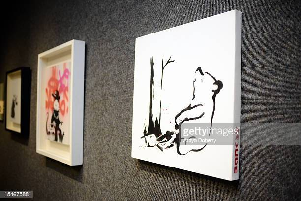 'Winnie The Pooh' by Banksy is displayed at Bonhams' inaugural US auction of urban art media preview day at Bonhams Butterfields on October 24 2012...