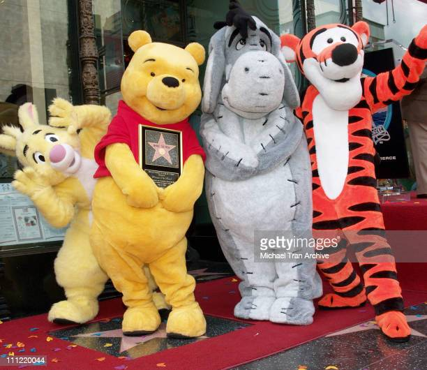 Winnie The Pooh Rabbit Eeyore and Tigger during Winnie The Pooh Honored with a Star on the Hollywood Walk of Fame at 6834 Hollywood Blvd in Hollywood...