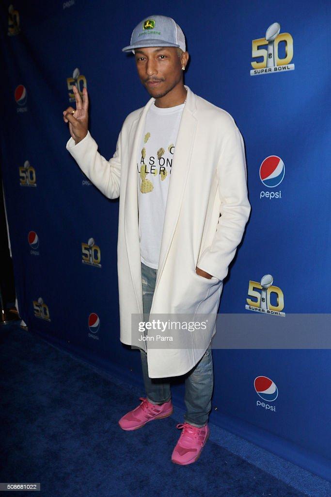 GRAMMY winning artist Pharrell arrives at Pepsi Super Friday Night at Pier 70 on February 5, 2016 in San Francisco, California.