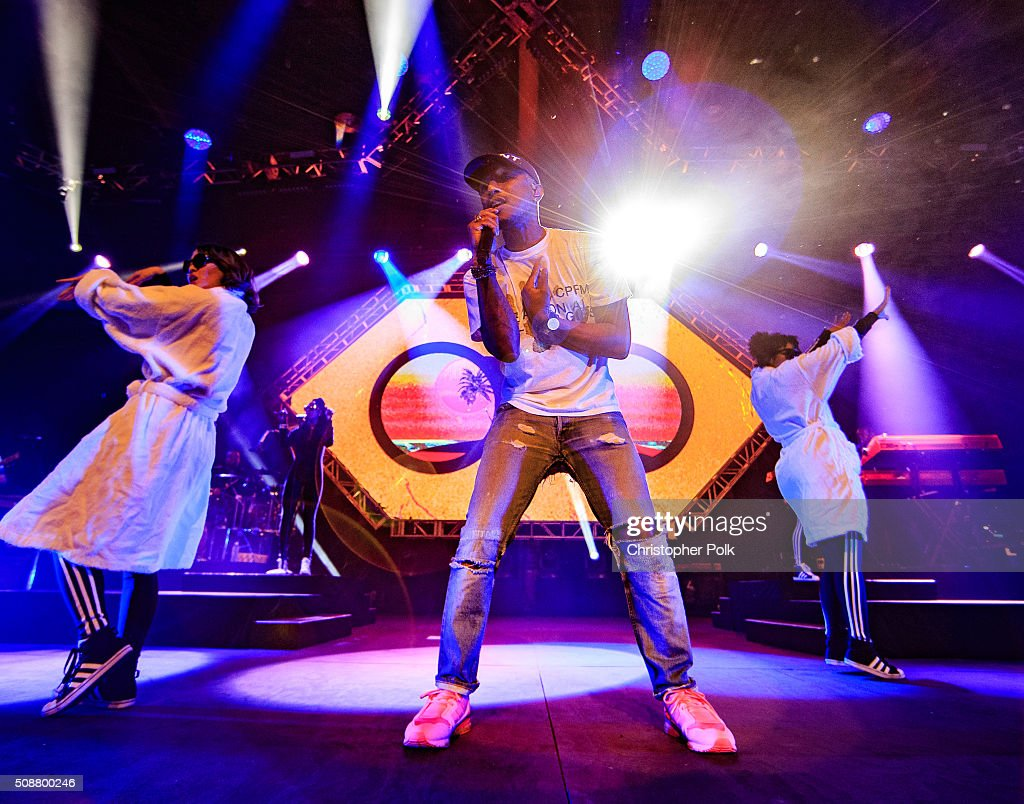 GRAMMY winning artist Pharrell performs following the 2015 Pepsi Rookie of the Year Award Ceremony at the 2015 Pepsi Rookie of the Year Award Ceremony at Pepsi Super Friday Night at Pier 70 on February 5, 2016 in San Francisco, California.