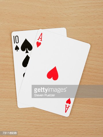 Winning blackjack hand, overhead view : Stock Photo
