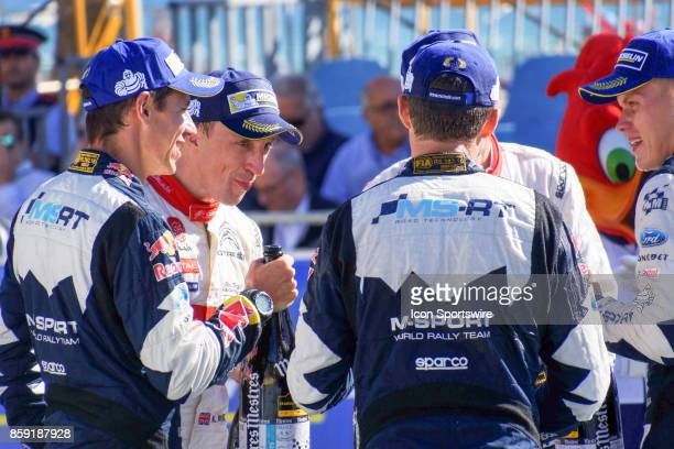 Winning drivers celebrate following the Rally de Espana round of the 2017 FIA World Rally Championship Kris Meeke and codriver Paul Nagle of Citroën...