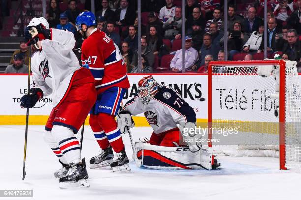 Winning goal puck passing just behind Columbus Blue Jackets Goalie Sergei Bobrovsky in the air from a shot of Montreal Canadiens Center Alex...