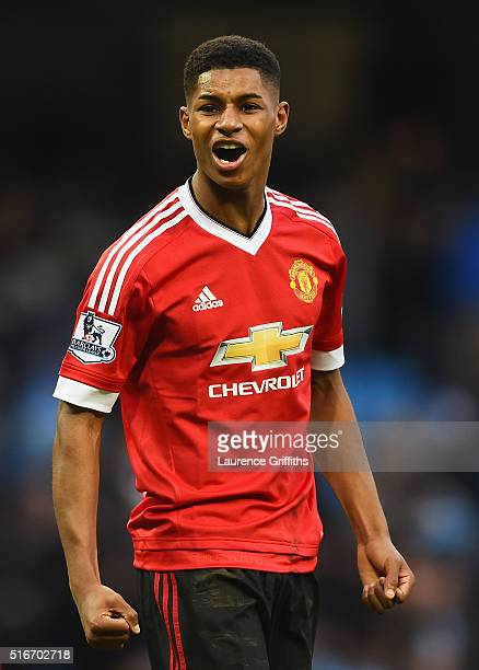 Winning goalscorer Marcus Rashford of Manchester United celebrates victory after the Barclays Premier League match between Manchester City and...