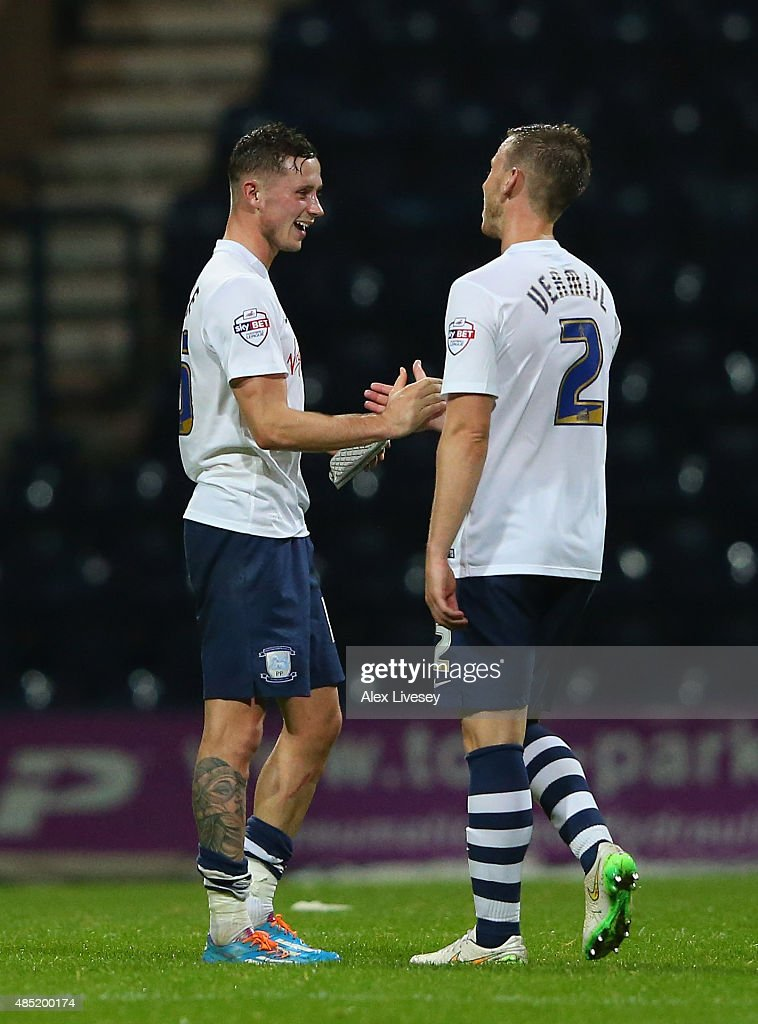 Winning goalscorer Marnick Vermijl of Preston North End celebrates with Alan Browne after the Capital One Cup Second Round match between Preston North End and Watford at Deepdale on August 25, 2015 in Preston, England.