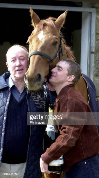Winning Jockey and assistant trainer Richard Guest and trainer and owner Norman Mason with Red Marauder at the Brancepeth Manor Farm in Brancepeth...