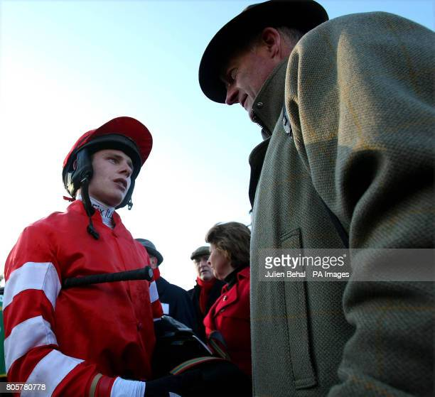 Winning jockey Paul Townend chatting to trainer Willie Mullins after victory on Golden Silver in the Paddy Power DialaBet Steeplechase during the...