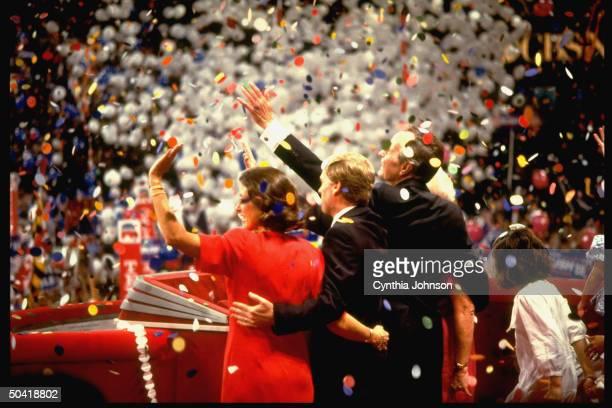 Winning team Barbara George Bush Dan Marilyn Quayle celebrating victory waving amid balloons fanfare at Repub Natl Convention